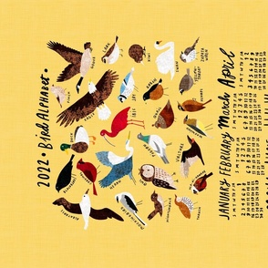 An Alphabet of Birds 2021 calendar tea towel (blue)