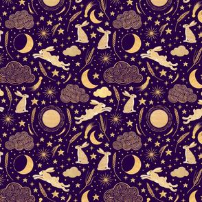 Harvest Moon Hares - Golden on purple