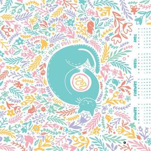 2021 Calendar Cat Garden Tea Towel Pastel