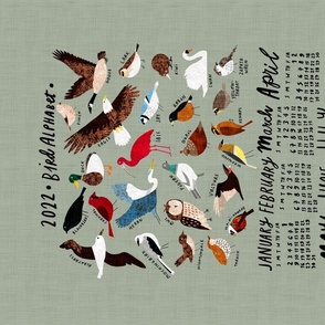 An Alphabet of Birds 2021 calendar tea towel (light green)