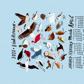 An Alphabet of Birds 2021 Calendar Tea Towel in sky blue