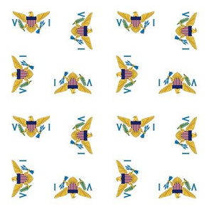 """US Virgin Islands flag, 1.5"""" rotated on white"""