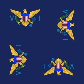 "US Virgin Islands flag, 3"" rotated on navy blue"