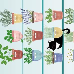 Tea towel • Cat sleeping with herbs