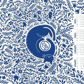 2021 Calendar Cat Garden Tea Towel Dark Blue White