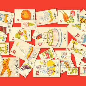 TEA TOWEL ALPHABET CARDS  (RED)