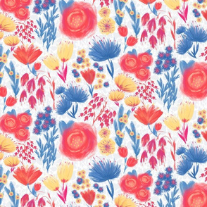 Fluffy Flowers background (lightblue)