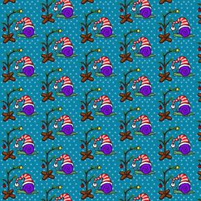 Christmas Snail on blue