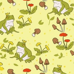 Cottage Core Frogs on Butter Yellow
