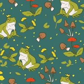 Cottage Core Frogs on Green
