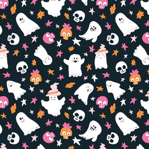 Too Cute to Spook - skulls and ghosts in black