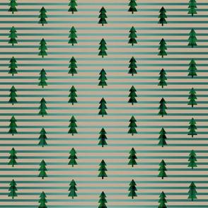 Green Plaid Trees On Stripes