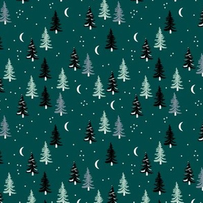 Christmas forest pine trees and snowflakes winter night new magic moon boho green mint black SMALL