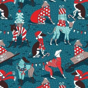 Small scale // Greyhounds Christmas dogwalk // dark teal background