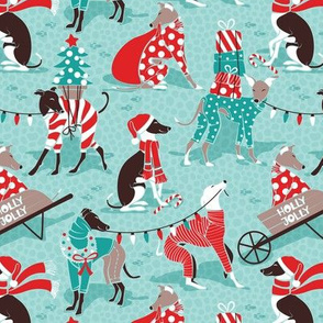Small scale // Greyhounds Christmas dogwalk // aqua background