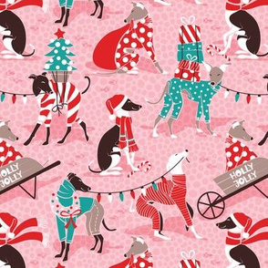 Small scale // Greyhounds Christmas dogwalk // pastel pink background