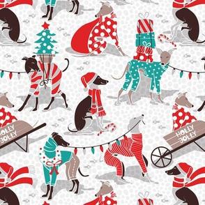 Small scale // Greyhounds Christmas dogwalk // white background