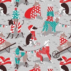 Small scale // Greyhounds Christmas dogwalk // grey background