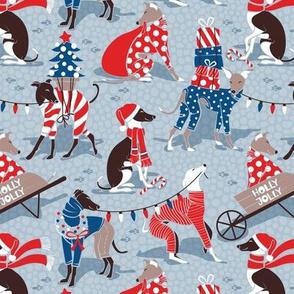 Small scale // Greyhounds Christmas dogwalk // pastel blue background