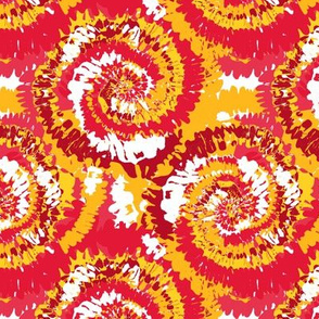kc tie dye fabric - red and yellow tie dye, kansas city football
