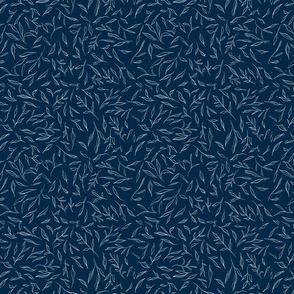 Tiny Leaves - Blue with White Leave