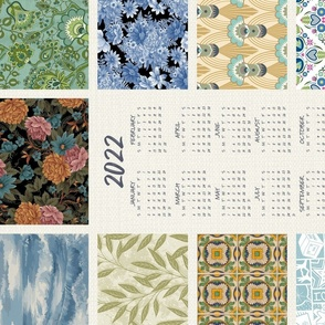 """2022 Calendar Tea Towel SWATCHES LIGHT ©Julee Wood - TO PRINT CORRECTLY choose FAT QUARTER in any fabric 54"""" or wider"""