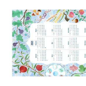 2021 Jewish Year Tea Towel Watercolor