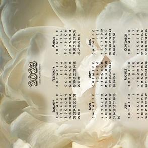 White Roses 2021 Calendar Tea Towel
