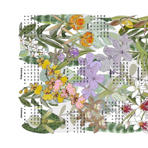 orchids calender white no text tea towel