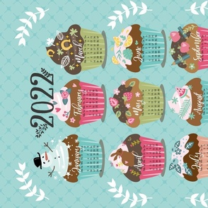 seasonal cupcake calendar 2021 tea towel