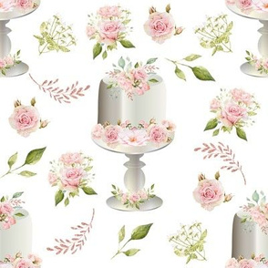 """8"""" Pink Floral Decorated Cake on Stand"""
