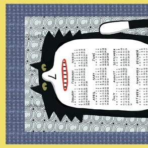 2021cat calendar tuxedo cat blue