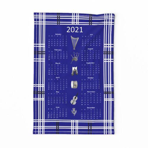 Tartan harp and bagpipe tea towel calendar