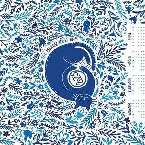 2021 Calendar Cat Garden Tea Towel Mono Blue White
