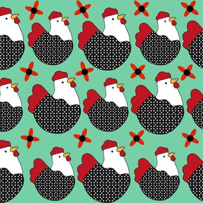 Chicken Seamless Pattern Sea Green