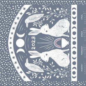 Rabbit and Raven, Calendar Tea Towel