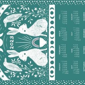 Rabbit and Raven Calendar Tea Towel, Pine