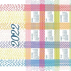 tokodots stitches calendar tea towel