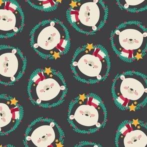 Holiday Polar Bears in Wreaths