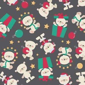 Holiday Polar Bears with Santa and Gift Gray