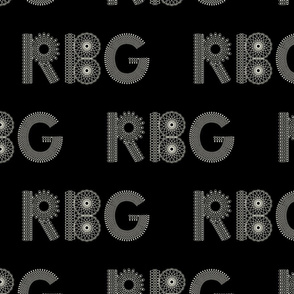 RBG letters in lace pattern