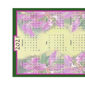 Hawaiian Orchid 2021 Calendar Tea Towel