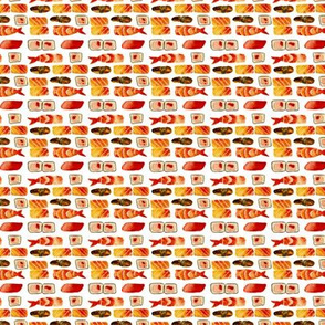 sushi pattern - smaller scale - watercolor cool food