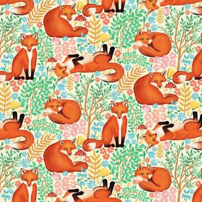 Little Foxes in a Fantasy Forest on Cream - Tiny Scale