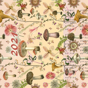 2021 Ombre  Mushroom Calendar Tea Towel