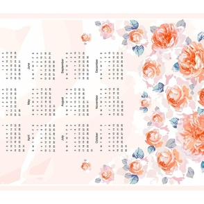 Tea towel. 2021 year. English roses, cream background