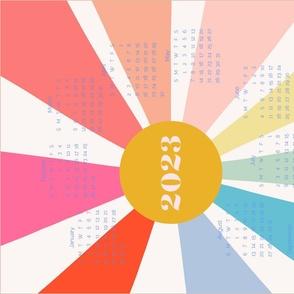 Bright New Year Rainbow 2021 calendar tea towel by Pippa Shaw