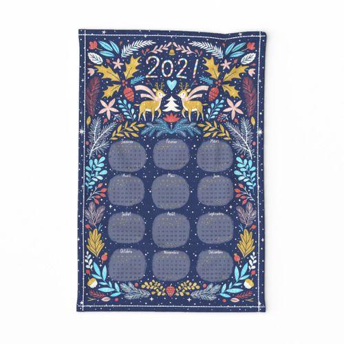 Tea towel French calendar for 2021 year