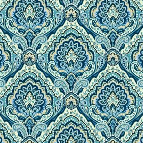 Paisley Damask Teal small scale