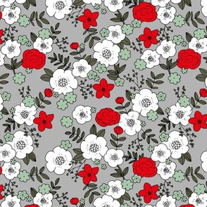 Romantic english garden christmas liberty flowers garden autumn winter vibes neutral nursery Scandinavian trend red white green gray